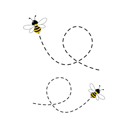 Bee flying on a dotted route isolated on the white background Иллюстрация