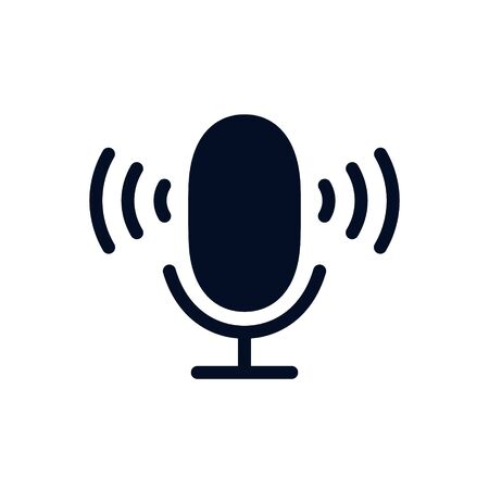 Microphone Icon Vector flat illustration, glyph style design isolated