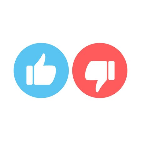 Design Elements for smm, ad, marketing. Like and dislike icons. Thumbs up and thumbs down circle emblems vector flat Icons.