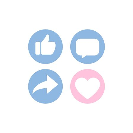 Thumb up, heart icon, comment share social network icon set and long shadow on white background.