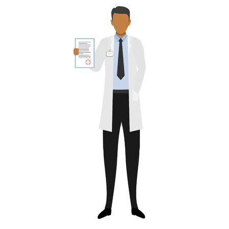African doctor with diagnosis in the hand. Concept vector illustration with doctor isolated on the white background