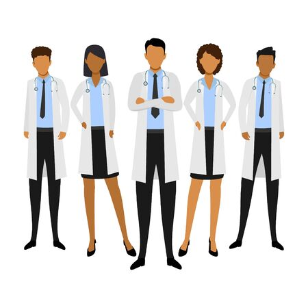 Medical team. Concept vector illustration with african doctors isolated on the white background