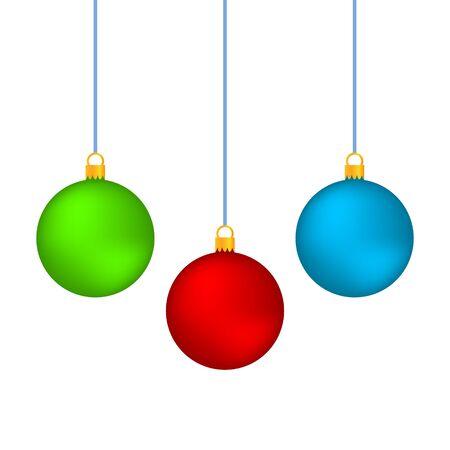 Realistische Weihnachtskugeln Vektor-Icons isoliert auf dem weißen Hintergrund Vektorgrafik