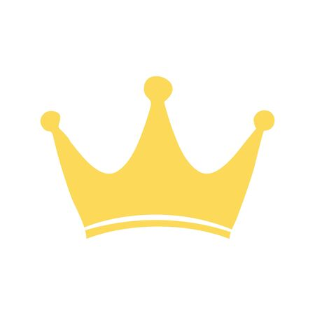 Golden crown vector icon. Hand made illustration isolated
