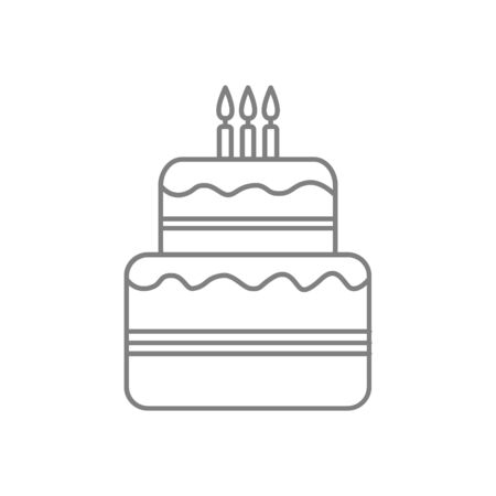Birthday cake line icon with candles isolated on the background Zdjęcie Seryjne - 140203243