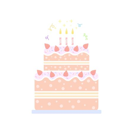 Birthday cake line icon with candles isolated on the background