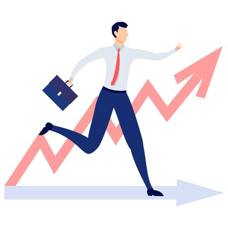 Businessman running to the goal. Business concept vector illustration.