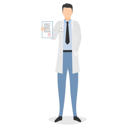 Doctor with diagnosis in the hand. Concept vector illustration with doctor isolated on the white background Иллюстрация