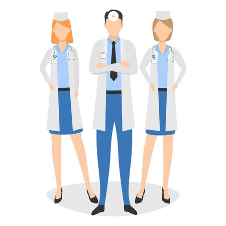 Medical team. Concept vector illustration with three doctors isolated on the white background Иллюстрация