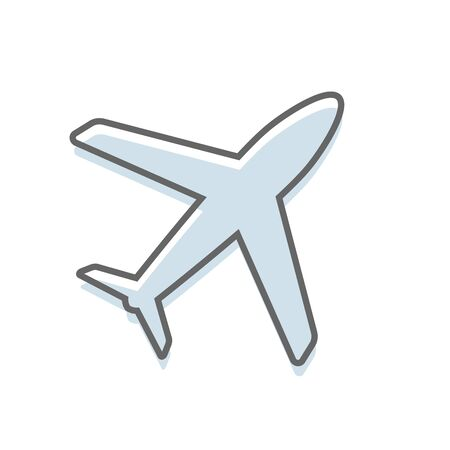 A simple silhouette design of an airplane on a white background