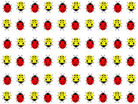The beautiful simple design of the white background from the red and yellow ladybirds Ilustración de vector