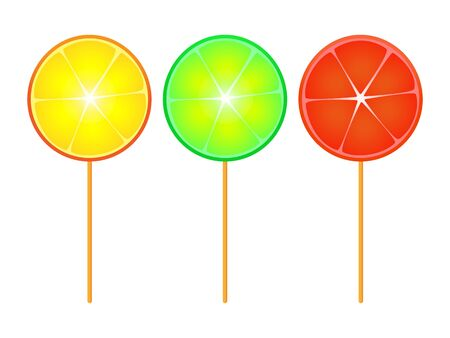 A wonderful simple design of citrus candy on a stick on a white background