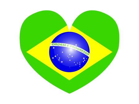 Amazing design of a Brazilian flag in the shape of a heart on a white background Çizim