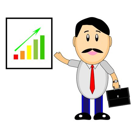 A wonderful simple character of a businessman with a graph of growth on a white background
