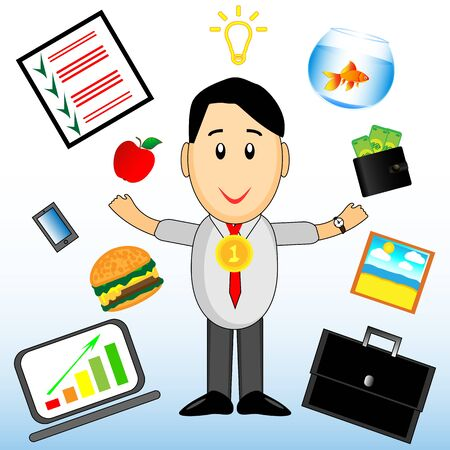 A wonderful simple character of a businessman with different elements of his work on a white background