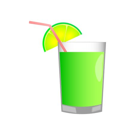 Delicious juice with a piece of lime in a glass cup on a light white background