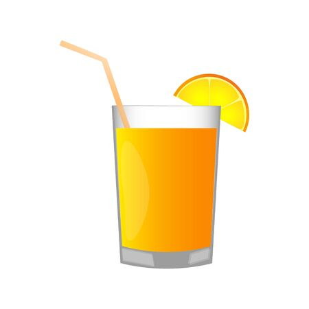 Tasty juice with a piece of orange in a glass cup on a light blue background