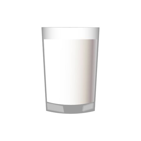 Tasty flat milk in a glass cup on a light blue background