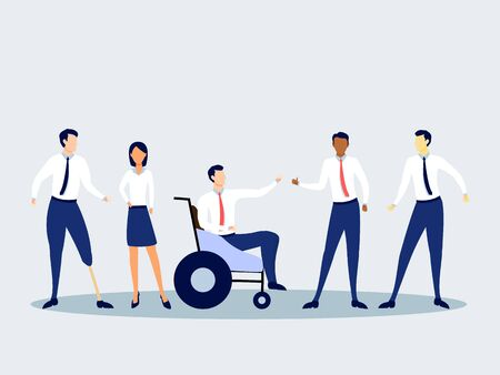 Teamwork. Inclusive society. Office business meeting. Flat editable vector illustration isolated on the light background Ilustracja