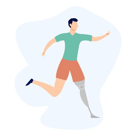 People exercising, training flat illustration. Promoting equality, person with disability cartoon vector character. Healthy lifestyle, Inclusion sport Vektorgrafik