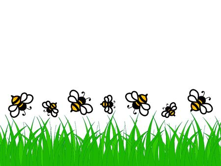 Great design of green grass and bees on a white background