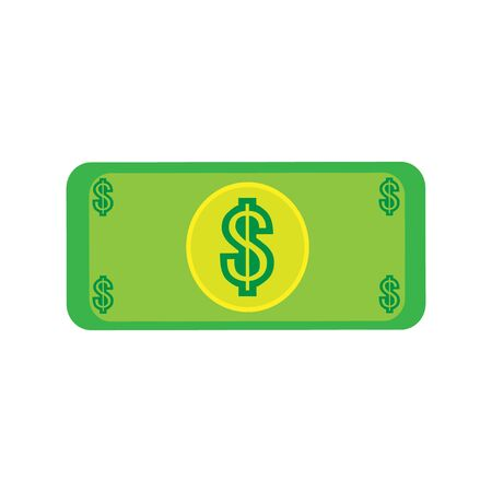 A wonderful simple design of a one dollar bill on a white background