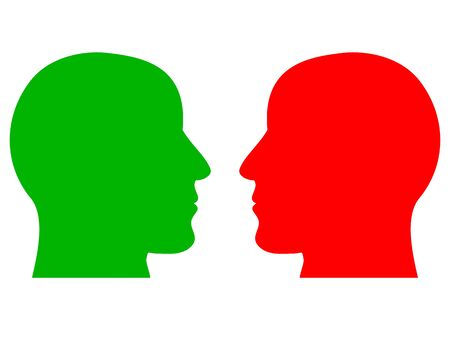 A simple design of the silhouettes of two human heads