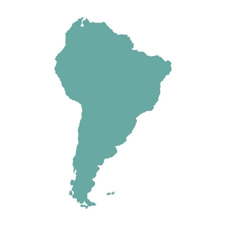 South America outline world map, vector illustration isolated on white. Map of South America continent.