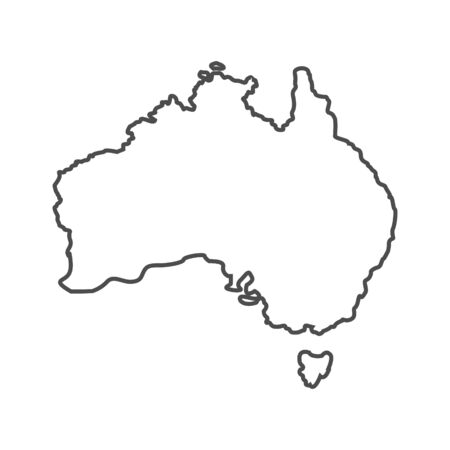 Australia outline world map, vector illustration isolated on white. Map of Australia continent, line silhouette concept
