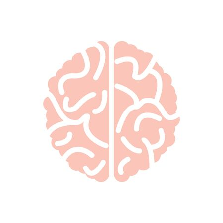 Brain  silhouette top view design vector template. Brainstorm think idea concept isolated on white Illustration