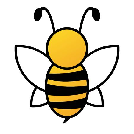 Lovely simple cartoon design of a yellow and black bee on a white background