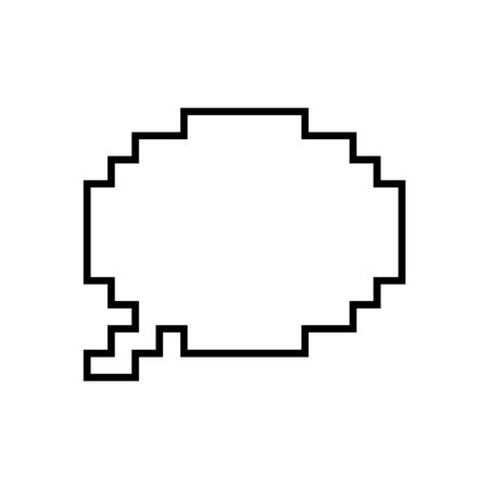 Pixel speech bubble vector icon isolated on white