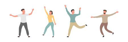 Group of male and female dancers isolated on white background. Happy young men and woman dancing together. Vector cartoon flat people illustration 向量圖像