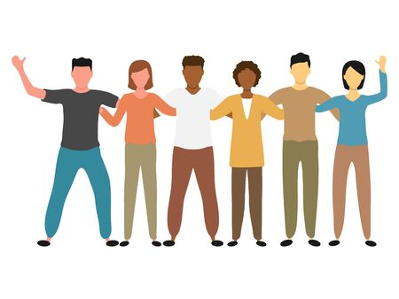 Group of multi-ethnic friendly men and women vector illustration isolated on white background. Happy friendship day with a diverse group of friends. People standing together to celebrate event.