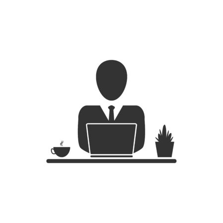 Businessman icon with laptop working at home. Freelance vector illustration isolated on white. Studying on-line course concept.