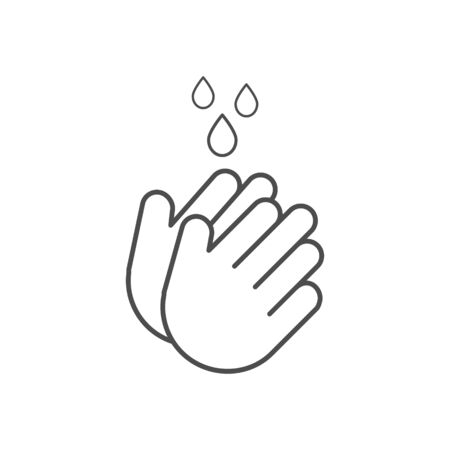 Hand icon washing with water drops outline. Prevention against viruses, bacteria, flu, Coronavirus. Clean hands flat vector illustration isolated on white. Vector Illustration