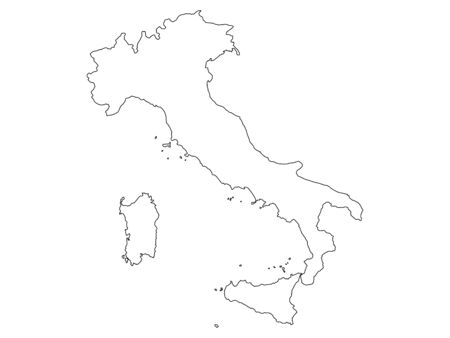 Italy silhouette map vector illustration isolated on white