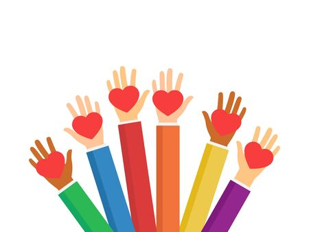 Raised hands volunteering stock vector isolated on white background. Multiethnic society unity, togetherness. Volunteers, social workers holding red hearts. Charity and social help illustration.