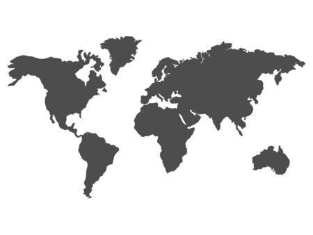 Black vector world map. Earth stock illustration isolated on white background.