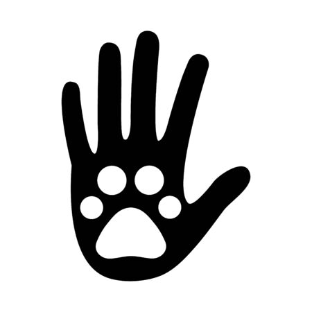 Animal trace on a human hand icon vector illustration isolated on white background. Help and save concept. Footprint symbol.