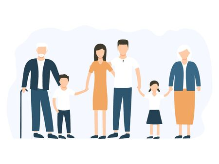 Big family standing together vector stock illustration isolated on white background. Grandmother, grandfather, mother, father and children happy characters in group.