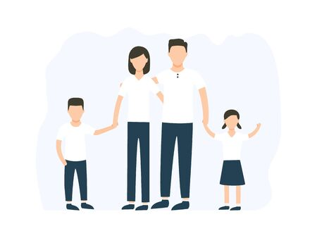 Happy family standing together vector stock illustration isolated on white background. Mother, father and children characters in group. Ilustração