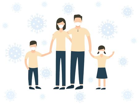 Family wearing protective medical mask for prevent virus. Coronavirus, disease, flu, contaminated air, world pollution, pandemic. Stay at home vector stock illustration isolated on white background