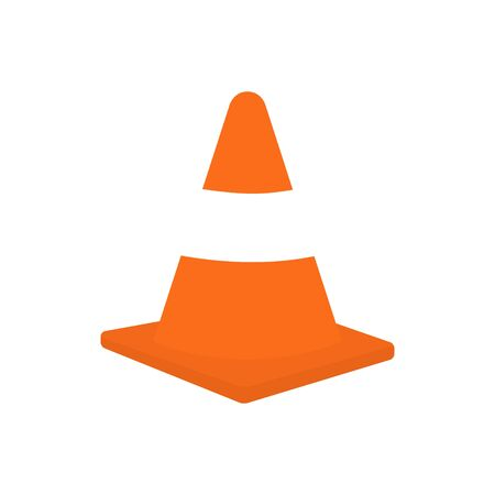 Traffic cone vector stock illustration isolated on white background. Orange road pylon icon.