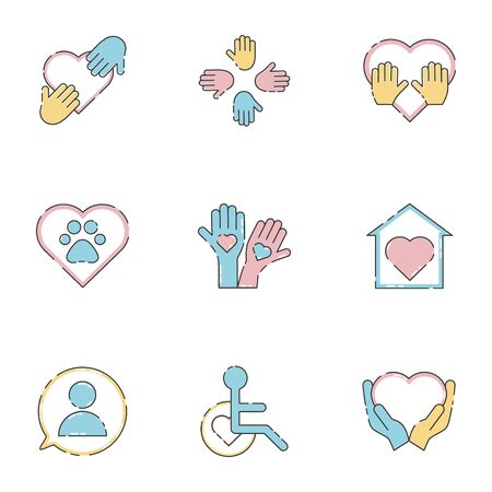Voluntary, charity, donation set icons. Orphans and animal help, voluntary activity, heart in hands vector stock illustration isolated on white background.