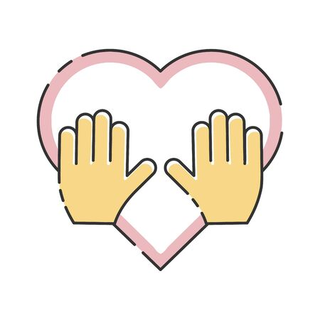 Hands with heart. Volunteer organization vector illustration isolated on white background.Voluntary, charity, donation icon.