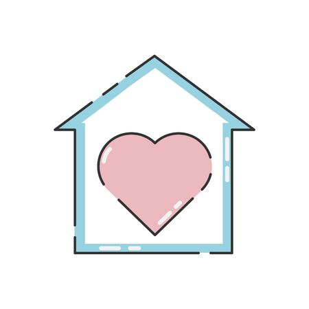 Voluntary center vector illustration isolated on white background. Heart in the house. Charity, donation icon. Ilustração