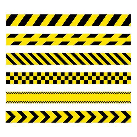 Yellow and black set stripes. Barricade construction tape. Police warning and hazard stripe. Vector illustration isolated on white background Ilustração