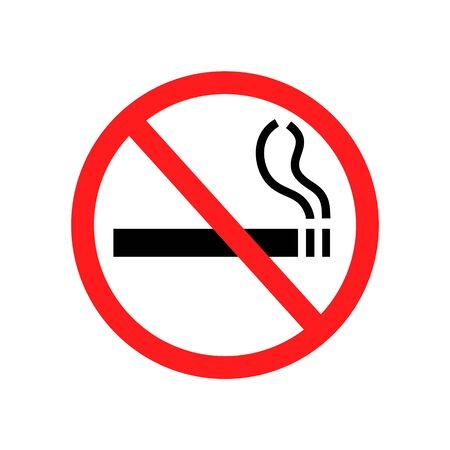 No smoking sign isolated on white. Prohibition cigarette vector illustration.