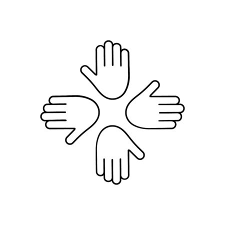Humanitarian assistance vector illustration isolated on white background. Hands together in round shape. Voluntary, charity, donation icon.